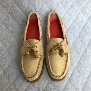 Sperry Sparkle Gold Suede Topsider